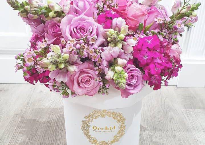 קופסאת פרחים סגולה